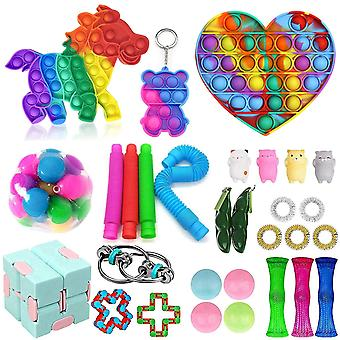 Sensorische Fidget Spielzeug Set Blase Pop Stress Relief für Kinder Erwachsene Z36