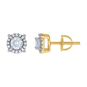925 Sterling Silver Yellow tone Mens Cubic zirconia Fashion Stud Earring Measures 8mm Long Jewelry Gifts for Men