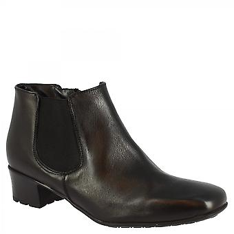 Leonardo Shoes Stivaletti con tacco quadrato fatto a mano in pelle di vitello nera con zip laterale