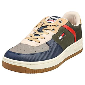 Tommy Jeans Basket Cupsole Mens Fashion Trainers in Dark Olive