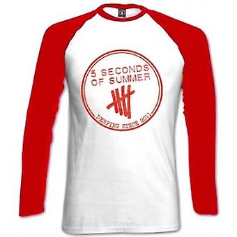 5 Seconds Of Summer Derping Stamp Raglan White Red: Small