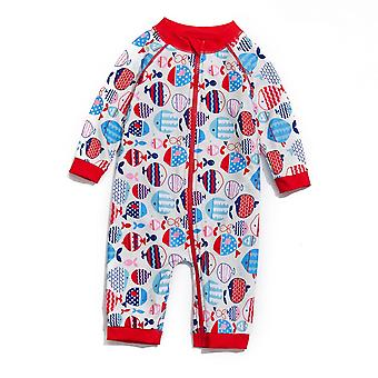 Baby Girls One PieceSwimsuits UPF 50+ Sun Protection 3/4 Mangas Full-zip Sunsuit