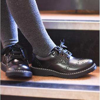 Start-Rite Impulsive Girls Leather Lace Up School Shoes Hi Shine Black