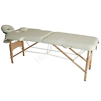 HOMCOM Massage Table Bed Couch Beauty Bed 2 Section Therapy Bed Lightweight Portable Folding Spa Bed Cream