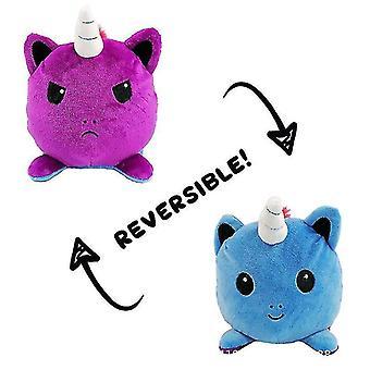 Vemix 15cm käännettävä flip yksisarvinen sarjakuva nukke flip pehmennä lelu (sininen violetti)