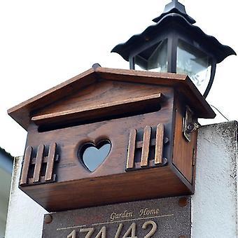 صناديق البريد الإبداعية علبة بريد خشبية في الهواء الطلق بعد مربع الحائط المقاوم للمطر شنت مربع الرسالة