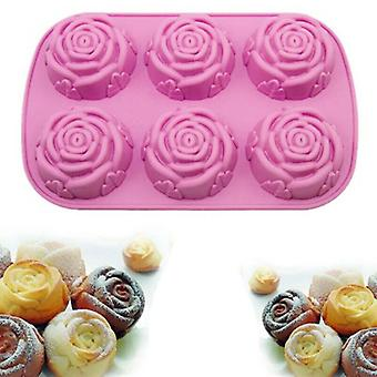 3D Rose Flower Shape Chocolate Cake Jelly Pudding Baking Silicone Mould