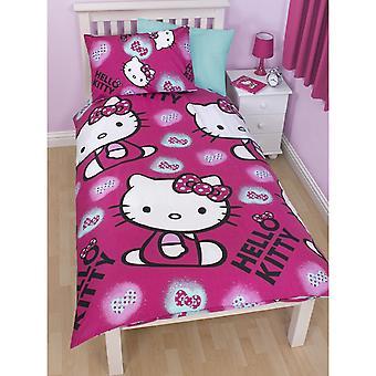 Hello Kitty Childrens Girls Inchiostro Reversible Piumone / Trapunta Cover Bedding Set