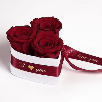 Jag älskar dig Rosor Heart Box 3 Eternal Roses i Mörkröd Hållbar 3 år