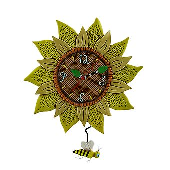 Allen Designs Bee Sunny Sunflower Wall Clock with Bee Pendulum