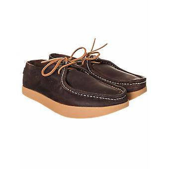 Yogi Footwear Willard Tumbled Leather Negative Heel Shoes - Dark Brown