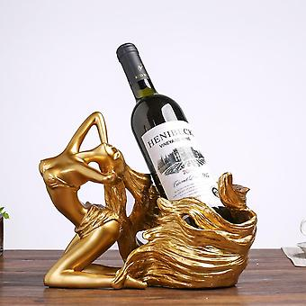 Grote wijnhouder sexy meisje lang haar fles wijnrek toon gekleurde gepolijste wijnglas houder