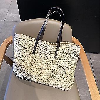 Letní styl trendy ratan tkané ruční tašky(Béžová A)