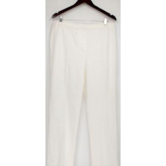 Susan Graver Mujer Plus Pantalones Ponte Knit Zip Front Ivory A285453