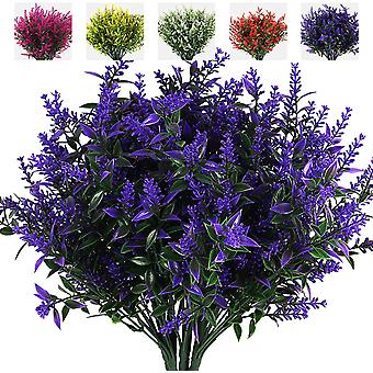 8 זרי פרחים מלאכותיים, פרחים מלאכותיים נגד לבנדר נגד אולטרה סגול, קישוטים חיצוניים (ורד אדום)