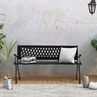 Patio Park Bench 3 Seater Black Metal Bench Garden Decor