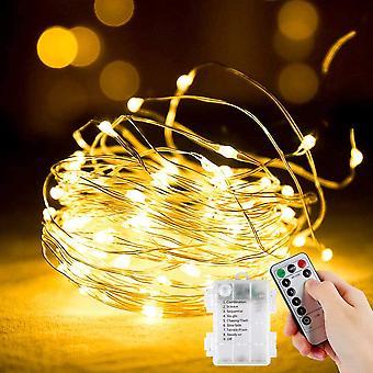 String Lights 5m 50led akkukäyttöinen string valot sisätiloissa ulkona kupari koristelu huone puutarha häät joulu