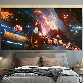 Cyberpunk Stil Gullfisk Tapet, vegg Hengende Klut-150x200cm