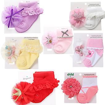 Baby Girl Baumwollsocken mit Kopfbesatz Set von 7