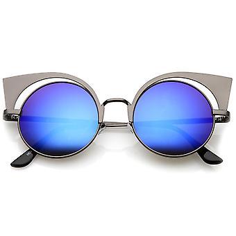 女子金属フレーム素材色ミラー猫の目のサングラス ラウンド フラット レンズ 49 mm
