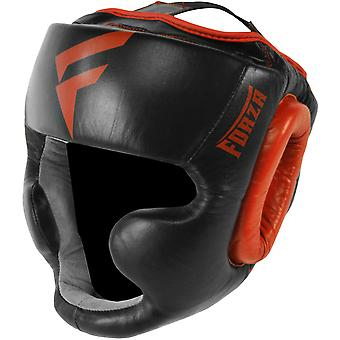 Forza Sports Leather Full Face Boxing and MMA Headgear - Black/Red