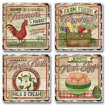 Los agricultores del mercado leche de huevos frescos de granja y posavasos de piedra caído crema juego de 4