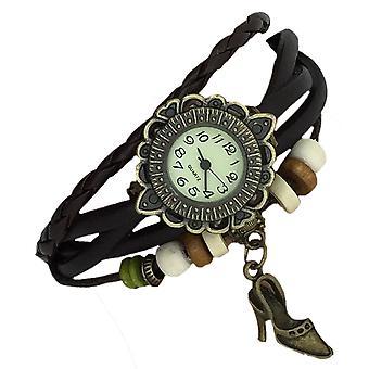 Boolavard® TM Retro Vintage Classic High Heel Shoe Pendant Beads Girls Ladies Women Floral Quartz Fashion Weave Wrap