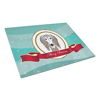 Carolines Schätze BB1539LCB Saluki Frohe Weihnachten Glas Schneidebrett groß