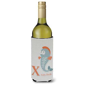 Alfabeto X per Xray pesce bottiglia di vino Beverge isolante Hugger