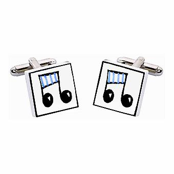 Blue Musical Notes Cufflinks by Sonia Spencer, in Presentation Gift Box. Hand painted