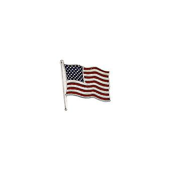 14k White Gold American Flag Lapel Pin 17.5x17mm Color Jewelry Gifts for Men - 2.8 Grams