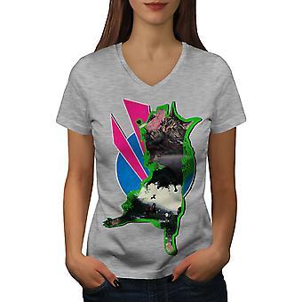 Dance Animal Funy Cat Women GreyV-Neck T-shirt | Wellcoda