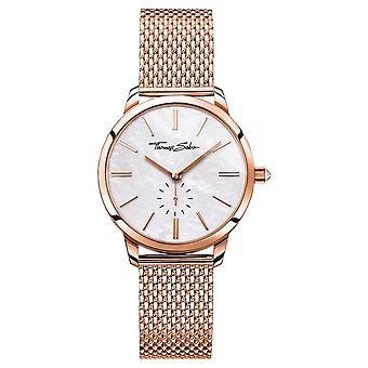 Thomas Sabo Womens Glam Spirit Rose Gold Tone Mesh Bracelet White Dial WA0303-265-213-33