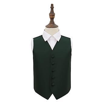 Dark Green Solid Check Wedding Waistcoat for Boys