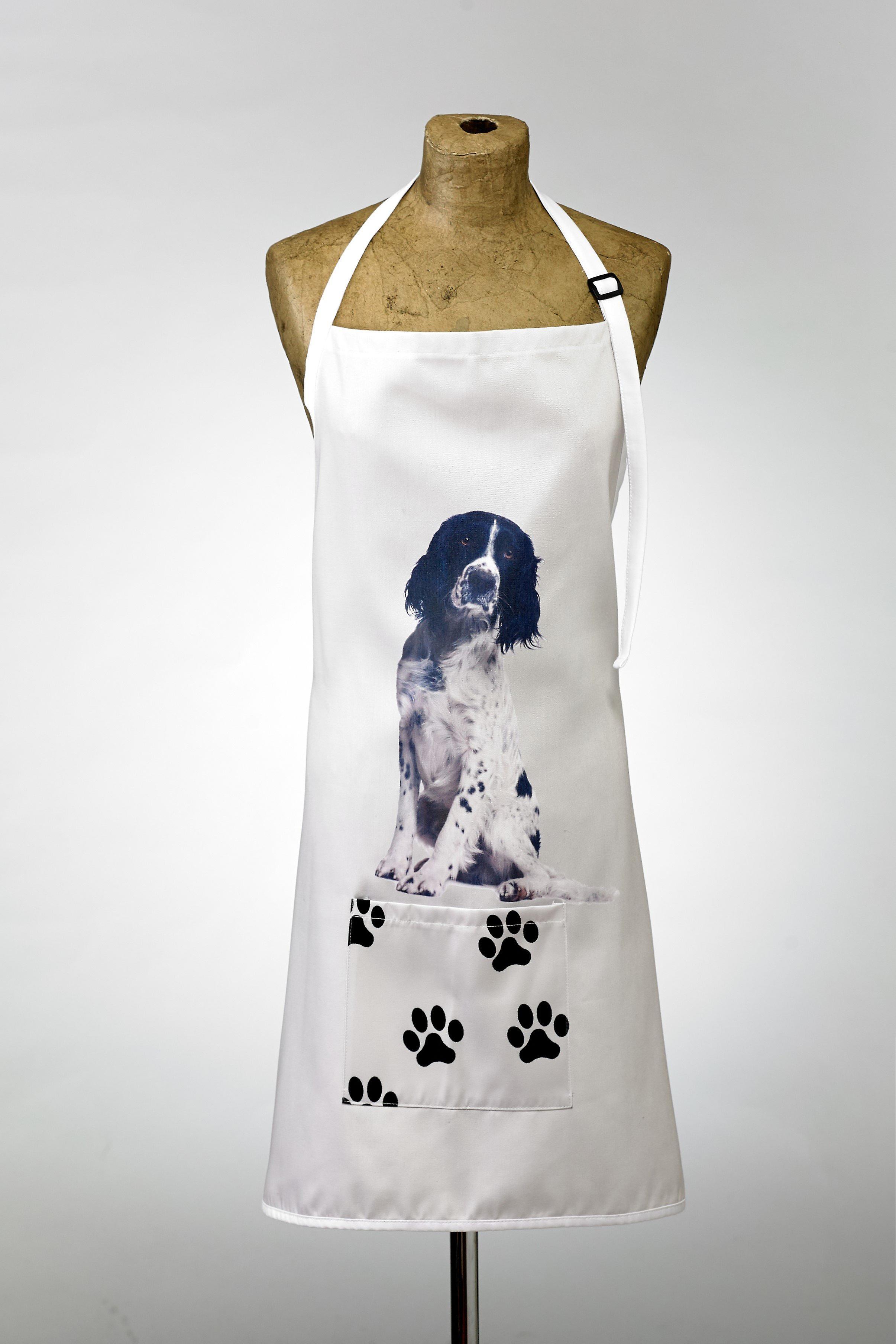 Adorable black & white springer design apron