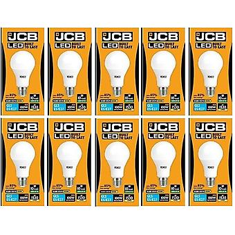 10 X JCB levou 15 Watt, tampa de rosca GLS lâmpada quente 3000K branco 100W substituição ES E27 lâmpada LED [classe energética A +]