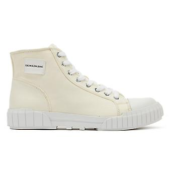 Calvin Klein Jeans Womens Off White Nylon Briony Trainers