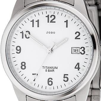 JOBO men's wristwatch quartz analog titanium date mens watch