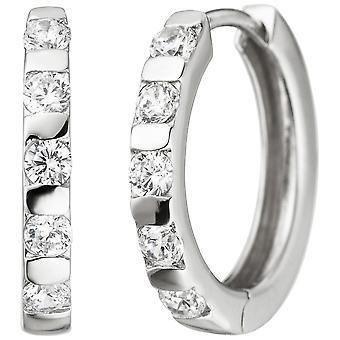 Hoop earrings 925 sterling silver 10 cubic zirconia earrings kitchen Silver earrings