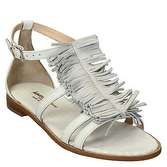 Sandales plates blancs à franges en cuir fabriqués en Italie