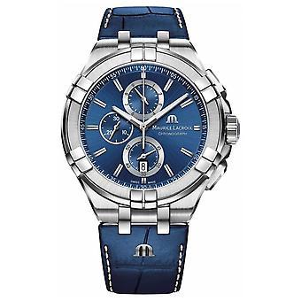 Maurice Lacroix Mens Aikon blauw chronograaf blauw lederen riem AI1018-SS001-430-1 horloge