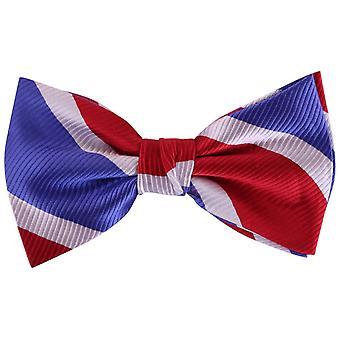 Knightsbridge Neckwear Diagonal stripete silke sløyfe - rød/hvit/blå