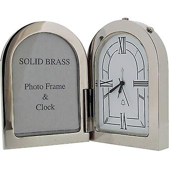 Gift Time Products Arch Photo Frame and Alarm Clock - Silver