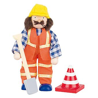 Poppenhuispop Bauarbeiter mit Schaufel