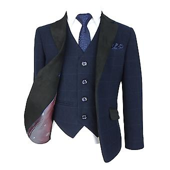 Romano Boys Navy Blue Windowpane Check Suit with Suede Lapel