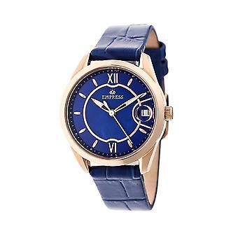 Empress Messalina Automatic MOP Leather-Band Watch w/Date - Blue