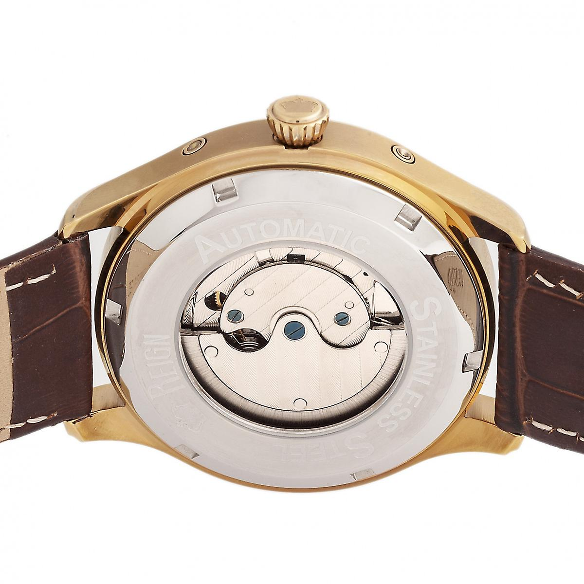 Reign Gustaf Automatic Leather-Band Watch - Brown/Gold