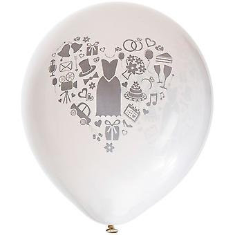 """6 pcs ballons de mariage blanc avec impression grise-26 cm (10 """")"""