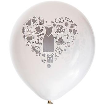 "6 pcs wedding balloons white with grey print-26 cm (10 "")"