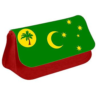Cocos Islands Flag Printed Design Pencil Case for Stationary/Cosmetic - 0204 (Red) by i-Tronixs